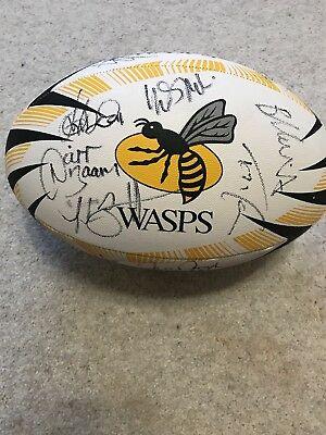 Signed Wasps Rugby Ball By The Whole Squad England Wade Launchbury Bassett Daly