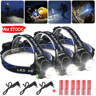 3PCS 21000LM Rechargeable LED lights Headlamp Headlight CREE T6 Head Torch Lamp