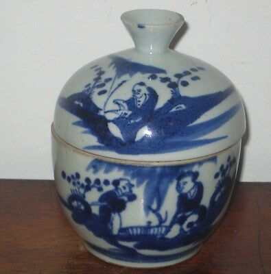 Old Oriental Bowl & Lid / Stem Cup Painted Blue On White Garden Scene