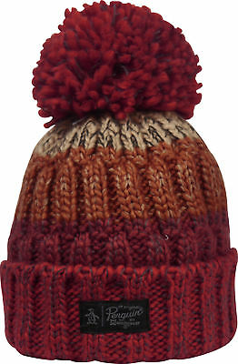 fe10c89ac0aeb7 Original Penguin Berg Bobble Beanie Mens Womens Knitted Fashion Hat - Red