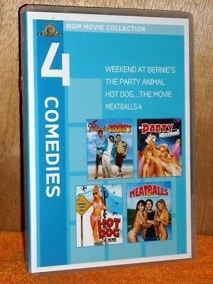 Weekend At Bernie's/Party Animal/Hot Dog/Meatballs 4 (DVD, 2010, 2-Disc) comedy