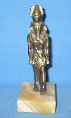 "Vintage Solid Bronze (brass) Egyptian Pharaoh Figurine Egypt 5-5/8"" Tall"