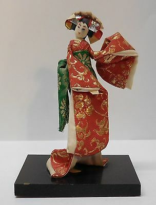 Japanese Yoshitoku Doll on Wood Stand Red Green Gold Kimono Original Tag Vintage