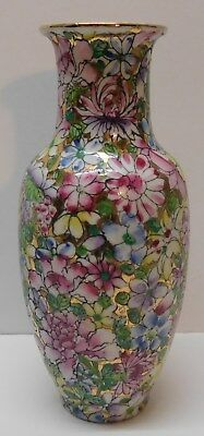 Chinese Vase Flowers Blue Pink Purple Yellow Green Gold Accents Marked Vintage