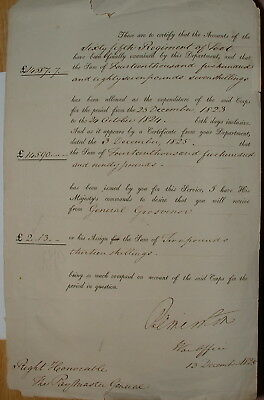Certificate of accounts for the 65th Foot dated 13th December 1825