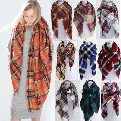 Fashion Women Blanket Warm Tartan Scarf Wrap Shawl Plaid Cozy Pashmina Lot