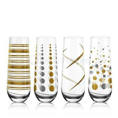 9fcae914901 LIVIVO 4 X Champagne Prosecco Stemless Flutes Wine Glass Gift Clear Gold  Decal