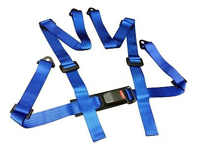 New Sports Racing Harness Seat Belt 3 / 4 Point Fixing Mounting Blue