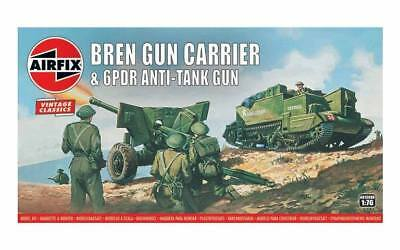AIRFIX 1:76 Scale BRITISH BREN CARRIER & 6pdr Anti-Tank GUN MODEL KIT - A01302V