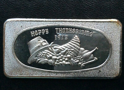 1973 Great Lakes Mint Happy Thanksgiving GLM-7 Silver Art Bar A2807