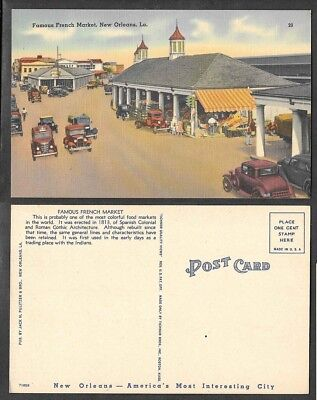 Old Louisiana Postcard - New Orleans - Famous French Market and Old Cars
