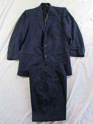 Vtg 1959 Date 2 Pc Navy Blue Wool Suit Jacket & Pant Mod Hollywood 50s VLV 60s