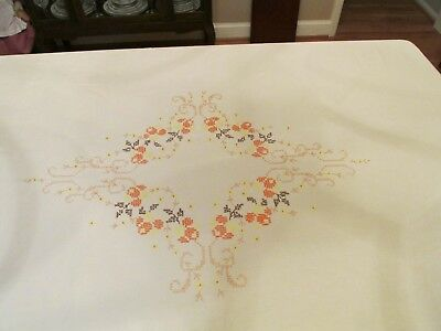 Fall Tablecloth with Cross Stitch and  Embroidery 50 x 64 Inches Excellent Cond.