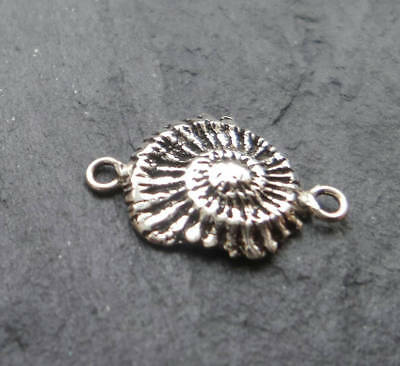 Sterling Silver Ammonite fossil connector silver fossil charm connector