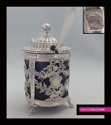 ANTIQUE 1890s FRENCH STERLING SILVER OPENWORK MUSTARD POT & SPOON with Cherubs