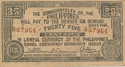 Currency Japan Philippines Emergency 1942 WWII Note 25 Centavos Circulated