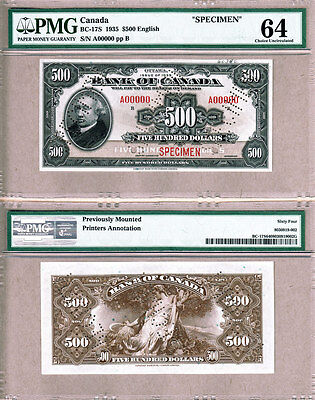 BC-17s 1935 $500 Bank of Canada Specimen Note, PMG CH UNC64. Very Rare Note.
