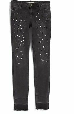 TRACTR  COOL CHIC  DARK RINSE DISTRESSED  PEARL EMBELLISHED SKINNY  JEANS  Sz 10