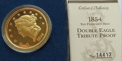 1854-S Gold $20 Double Eagle Tribute Proof Commemorative Coin with Box and COA