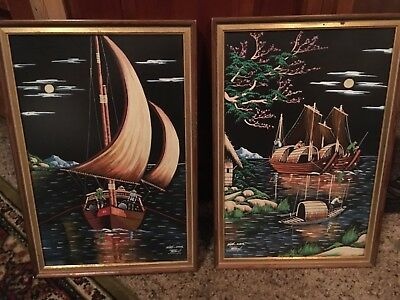 1950s silk canvas hand painted signed by artist, nice,nice framing done as well,