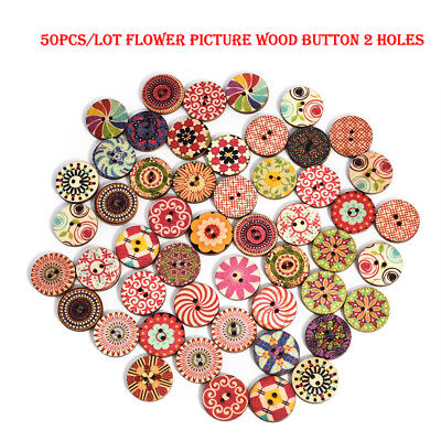 50Pc/lot Flower Picture Wood Buttons 2 Holes Mixed Color Apparel Sewing DIY Gift