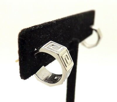 Awesome Sterling Silver Angled Small Greek Key Motif Earrings