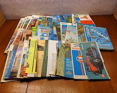 Vintage 1960-1980 Lot of 62 Road Maps Tour Books Gulf Oil USA Canada Europe VgC