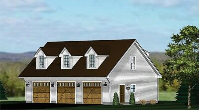 GARAGE PLANS BLUEPRINTS 3 CAR TRADITIONAL w DORMERS