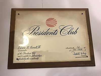 Vtg Continental Airlines Presidents Club Plaque Award 1968 Robert F Six CEO