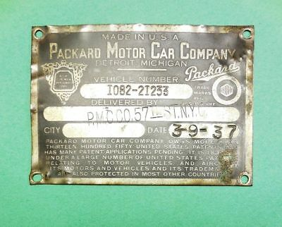 1937 Packard VIN, Vehicle number Tag, Firewall Plate. PMCCO 57 ST NYC 1082-21233