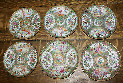 SIX Chinese Export Famille Rose Medallion Bread or Dessert Plates * 6""