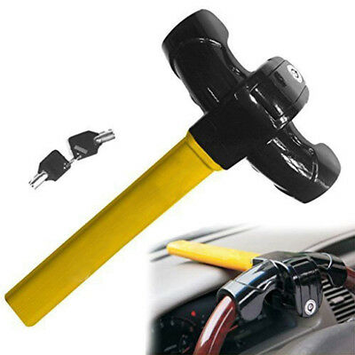 Universal Anti Theft Car Security Rotary Steering Wheel Lock Yellow