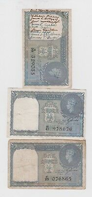 India Paper Money 3 old notes lower grade  and up