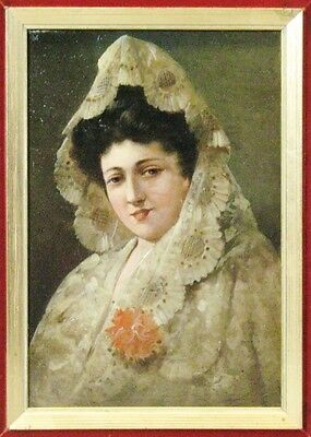 Superb 19th C. Italian Oil Painting of a Young Maiden in White  c. 1870   woman