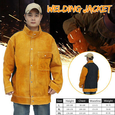 Welders Jacket Protective Coat Cow Leather Apron Welding Safety Apparel Suit