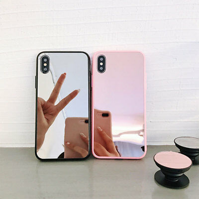 For iPhone Xs Max XR X 7 8 Plus Bumper Case Pink Mirror Back Protective Covers