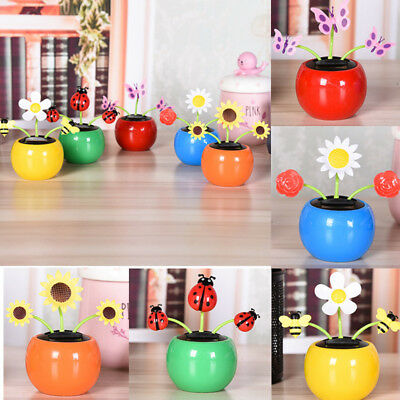 485700ad93f65 Solar Power Flip Flap Flower Car Home Decoration Swing Dancing Flowers Toy  Gift