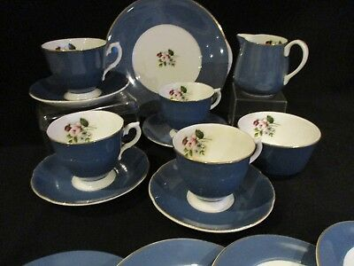 Vintage DENBRO china blue with rose decal 4 x cups, saucers, plates, jug & sugar