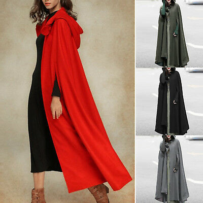 Women Ladies Hooded Long Maxi Cape Cloak Jacket Costume Poncho Coat Outwear Tops
