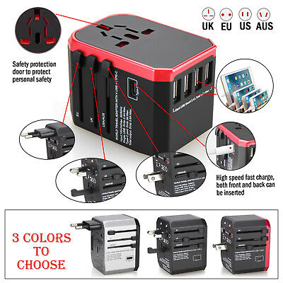 US to AU UK EU AC Power Plug Universal Travel Adapter Voltage Converter Charger