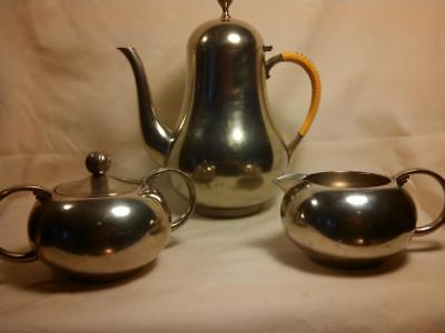 Mid Century Royal Holland Pewter Daalderop Coffee Tea Set K.M.D Tiel Netherlands