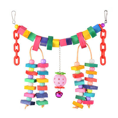 Pet Parrot Cage Swing Toys Colorful Rainbow Bridge Chewing Knots Block PS259