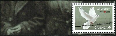 Canada Sc#??? Armistice: Dove over barbed wire, from Pane of 5, Mint-NH