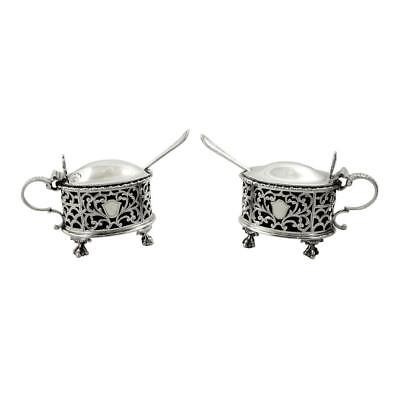 Pair Of Antique Sterling Silver Mustard Pots - 1919 / 1920