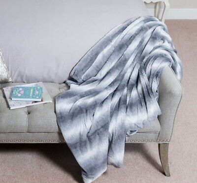 Soft Grey Faux Fur Throw Warm Large Sofa Bed Blanket Cosy