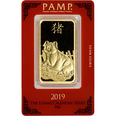 100 gram Gold Bar - PAMP Suisse - Lunar Year of the Pig - 999.9 Fine in Assay
