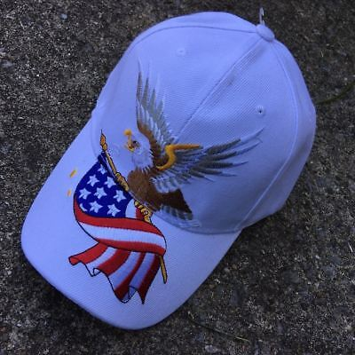 Bald Eagle W/american Flag Patriotic Embroidered Baseball Cap Hat Ht-4 White