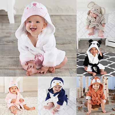 Animal Cute Baby Bath Towel Coral Fleece Blanket Infant Hooded Wrap Bathrobe