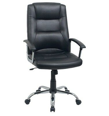 Berlin Home Office Leather Faced Executive Computer Chair Black F7BB