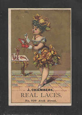 1880s J CHAMBERS { REAL LACES } VICTORIAN TRADE CARD